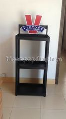 China Waterproof Wine Display Stand Free Standing Wine Display Rack With Printed Logo supplier