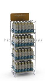 China Flooring Metal Beer Bottle Display Rack 4 Shelves For Drinks Products supplier