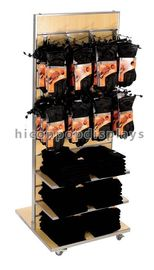 China Painting Slatwall Display Stands Fixtures Wood With Metal Hooks supplier