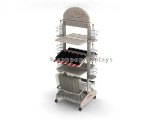 China Merchandising Movable Wood Wine Display Stand Free Standing For Retail Store supplier