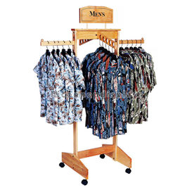 China Hanging Clothing Store Fixtures Simple Freestanding Wooden Clothes Rack For Promotion supplier