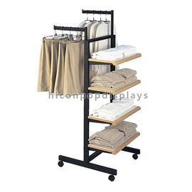 China Custom Design Metal Wood Garment T - Shirt Clothing Display Racks Flooring supplier