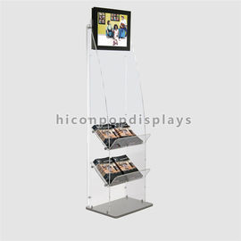 China Book Retail Store Fixtures Clear Acrylic Floor Display Stand With Lcd Screen supplier