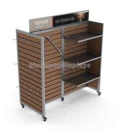 China Clothing Store Furniture 4 Way Garment Hanging Wood Freestanding Slatwall Displays supplier