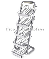 China 5 Layer Metal Tray Retail Flooring Display Stand Wire Snack Candy Bar Display Stand supplier