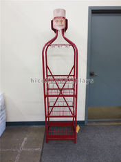 China Red Metal Pop Wine Mugs Retail Free Standing Glass Cup Display Rack Multi- Layer supplier