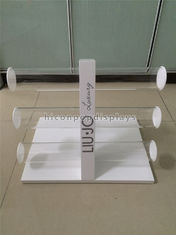 China Table Top Custom Size Wooden Display Racks With 3 Pieces Acrylic Holder supplier