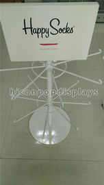 China 2-Layer White Pop Merchandise Displays Unit Custom Happy Socks Display 16 Hooks supplier
