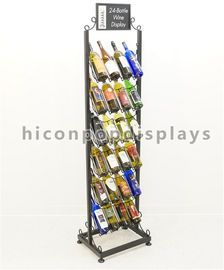 China 24 Bottle Wine Display Tower / Retail Shop Metal Wire Whiskey Rack 6 - Layer supplier