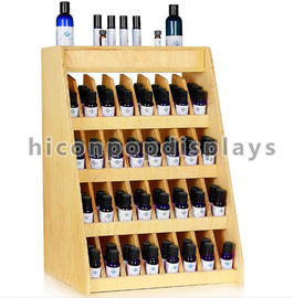 China Birch Wooden Display Racks Countertop 240 Bottle Essential Retail 4-Tier Display Rack supplier