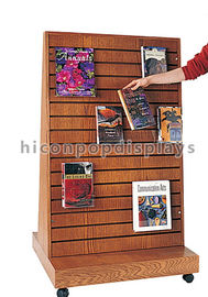 China 2 Way Function Slatwall Movable Magazine Display Stand Wooden Free Standing Display supplier