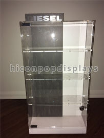 China Counter Top Acrylic Display Case Metal Base Watch Display Units Double Sided supplier