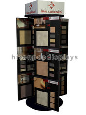 China Freestanding Stone Stand Rotating Tile Display Racks 6 Way With Custom Brand Logo supplier