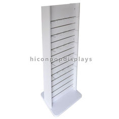 China White 2 Way Slatwall Display Stands Retail Store Movable Wood Gondola Shelving supplier