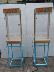 China Shops Lighting Acrylic Wooden Sunglasses Display Stand With Blue Metal Rack supplier