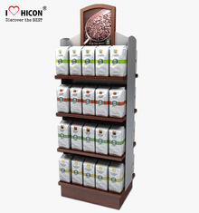 China Food Shop 4-Layer Wood Flooring Display Rack , Coffee Bag And Nuts Display Units supplier