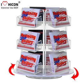 China Custom Rotating Counter Display Racks , Acrylic Business Card Display Holder 3 - Layer supplier