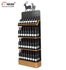 China Freestanding Custom Wooden Wine Display Rack For Liquor Store Advertising supplier