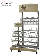 China Retail Journal Literature Newspaper Display Rack Floor Standing Metal Display Stand supplier
