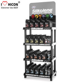 China 4-Layer Engine Oil Metal Display Racks Automotive Products Motor Oil Display Shelf supplier