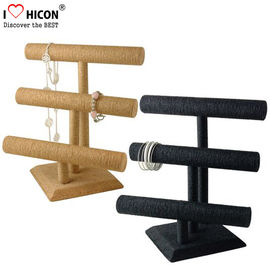 China Retail Shop Fashion Accessories Display Stand 3-layer Wood Tabletop Sliver Bracelet Display Stand supplier