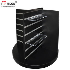 China Countertop Black Wood Slatwall Display Stands Rotating For Retail Store / Shops supplier