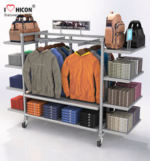 China Flooring Gondola Retail Display Shelving Metal 4 - Way Hanging Apparel Display Rack supplier