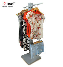 China Garment Store Pop Merchandise Displays Floor Metal Wood Clothing Rack For Sale supplier