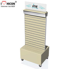 China Commercial Retail Store Large Slatwall Wood Flooring Display Rack With Storage supplier