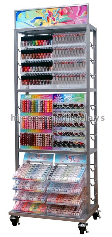 Movable Metal Nail Polish Cosmetic Display Stand Clear Beauty ...