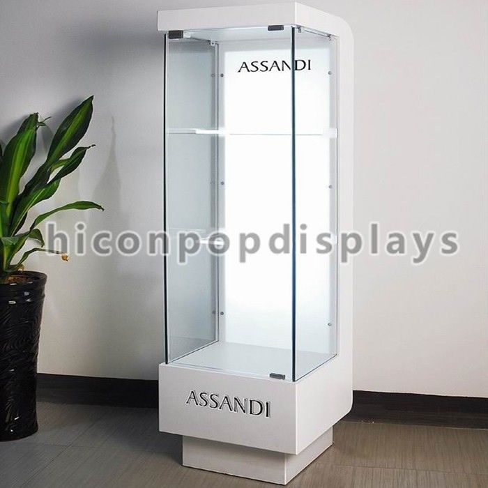 floor standing cosmetic display stand display case with led lighting