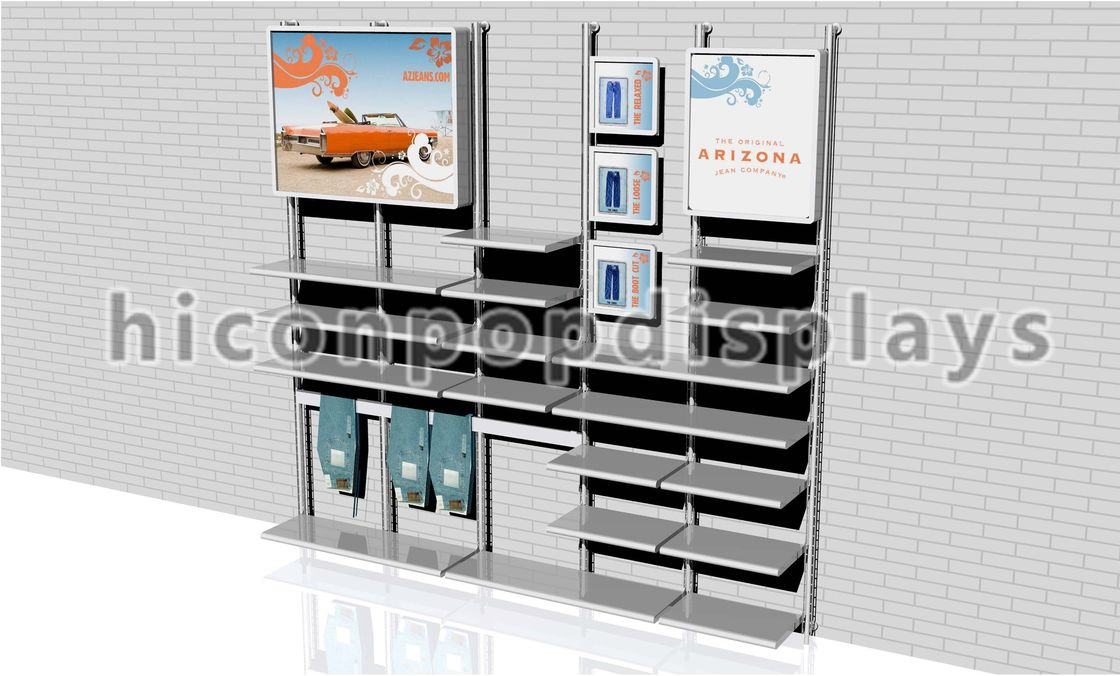Wall mount clothing store fixtures display retail wall for Boutique wall displays