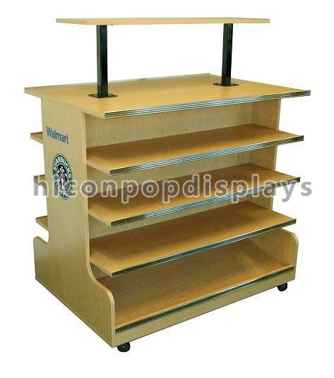 4 tier wooden retail display shelves store fixtures visual. Black Bedroom Furniture Sets. Home Design Ideas