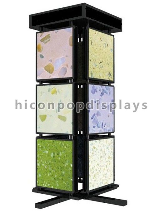 China Metal Mosaic Ceramic Tile Displays For Showrooms 4 Sided Display Stand Supplier