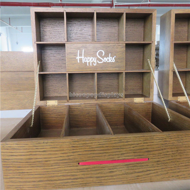 China Wood Clothing Fixtures Table Top Lockable Cotton Socks Display Case Supplier