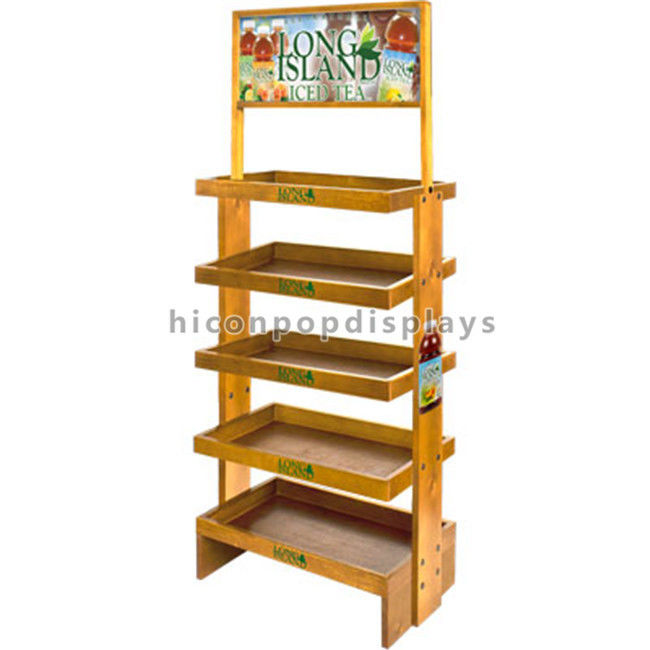 China Wooden Display Stands Veneer Finishing 4 5 Tiers Drinks Visual Merchandising Supplier