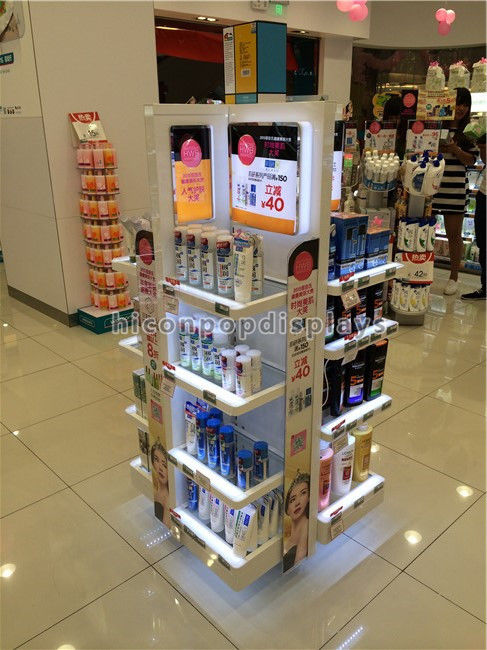 Cosmetics Display Stand Instore Promotional Lighting Makeup Display Impressive Cosmetic Retail Display Stands