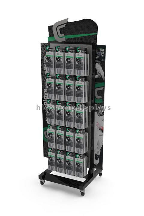 Merchandising Display Stands Movable Metal Retail Display Fixtures Free Standing Gloves Display 36