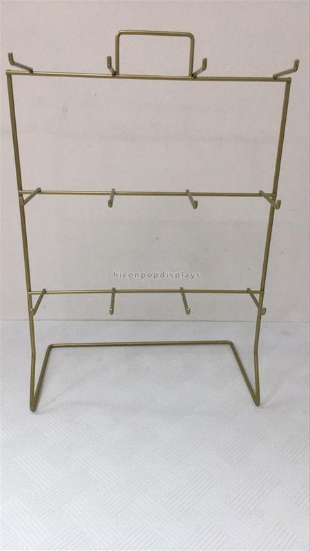 Golden Metal Display Racks 3 Layer 12 Hooks Countertop Display Rack