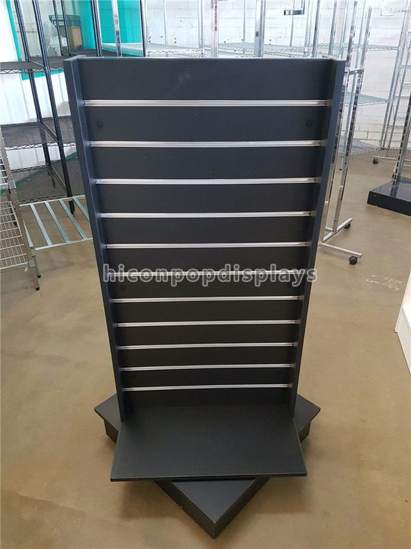 Black Wood Spinner Display Stands Free Standing With Aluminum Panel Gorgeous Spinner Display Stands