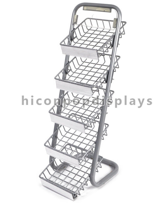 5 Layer Metal Tray Retail Flooring Display Stand Wire Snack Candy ...