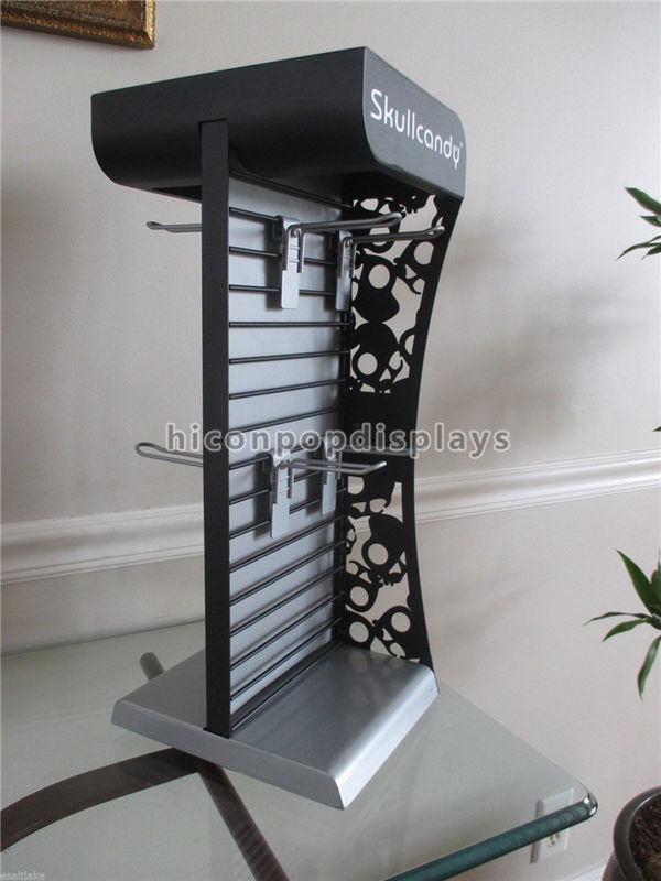 Exhibition Stand Hooks : Metal slatwall display stands countertop headphone