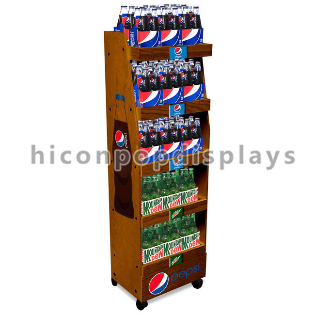 Merchandising Display Stands Movable Solid Wood Cola Display Stand Freestanding Drinks Shop 15