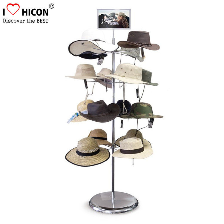 Free Standing Metal Hat Display Stand 7-Layer Rotating Cap Rack For ...