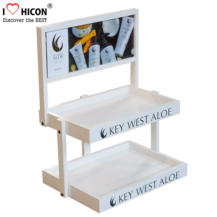 Wood Cosmetic Display Stand Counter Top Marketing Skin Care Products ...