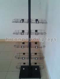 China Caps High End Metal Store Fixtures 5 Shelves Double Sided Display Stand factory