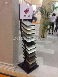 Black Metal Tile Display Racks Free Standing Trade Showroom Display Rack Flooring