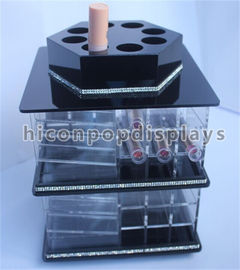 Tabletop Lipstick Acrylic Display Case Cosmetics Store Rotating Acrylic Display Stand