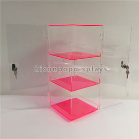 Custom Red Rotating Acrylic Display Showcase With Lock 7 * 7 * 16 Inches