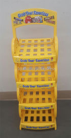 Supermarket Chocolate Merchandising Flooring Display Stands 4 Layer Yellow Color